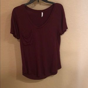 Burgundy sparkle loose for short sleeve tee shirt
